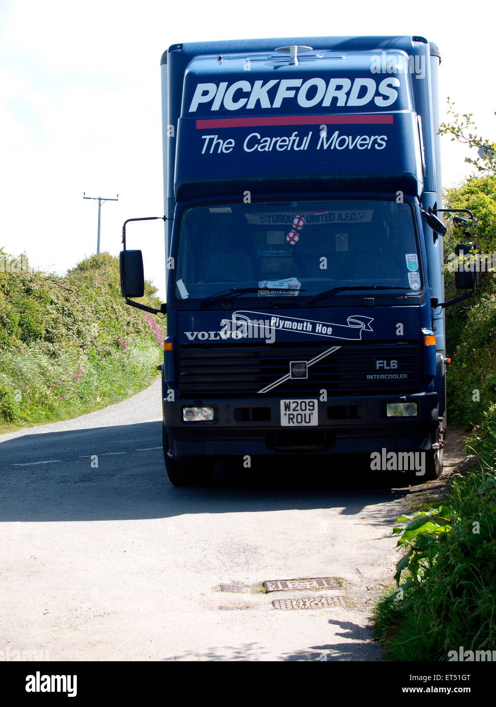 Front of a pickfords removal lorry, Devon, UK - Stock Image