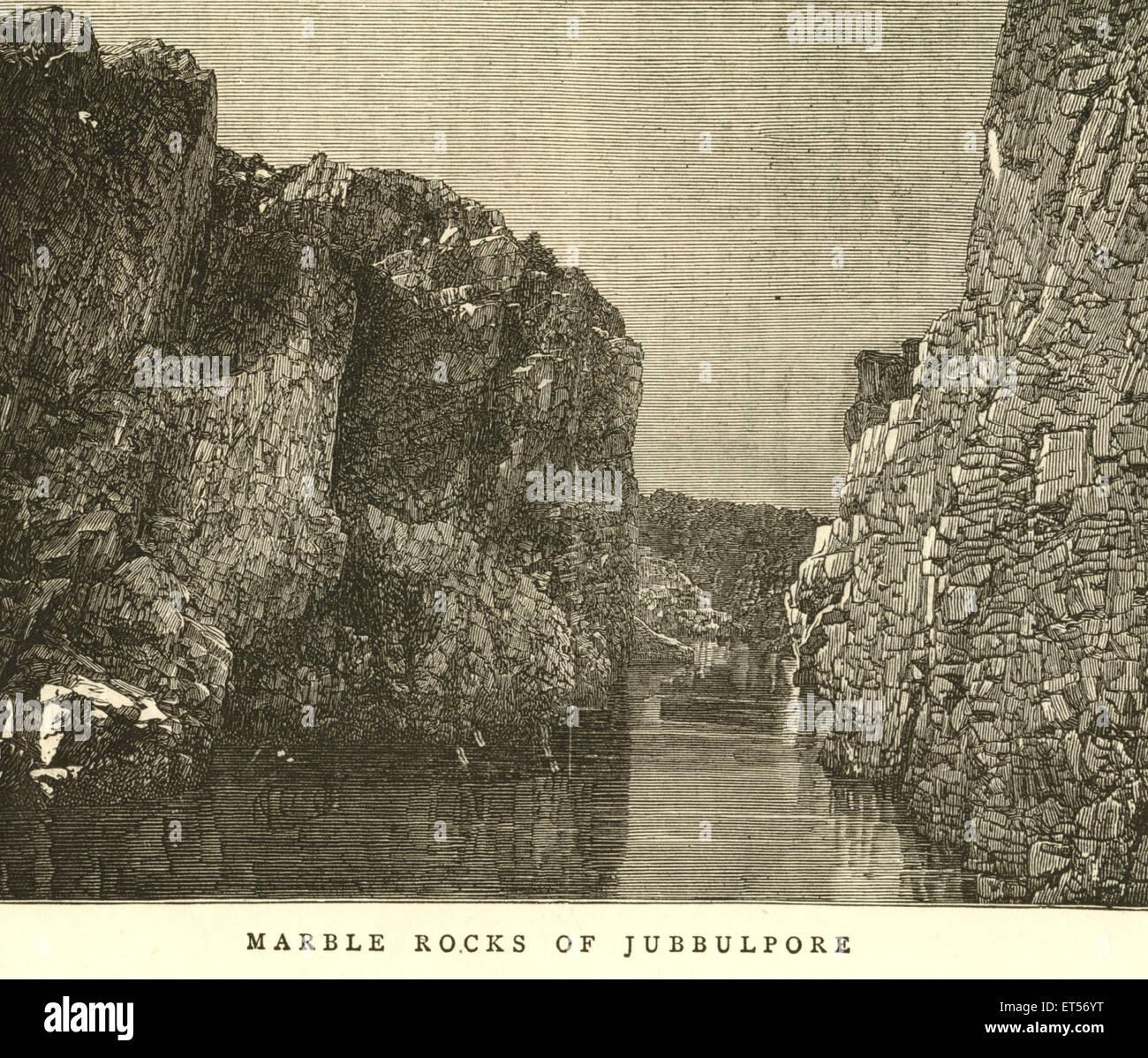 Marble rocks of Jubbulpore ; Jabalpur ; Madhya Pradesh ; India - Stock Image