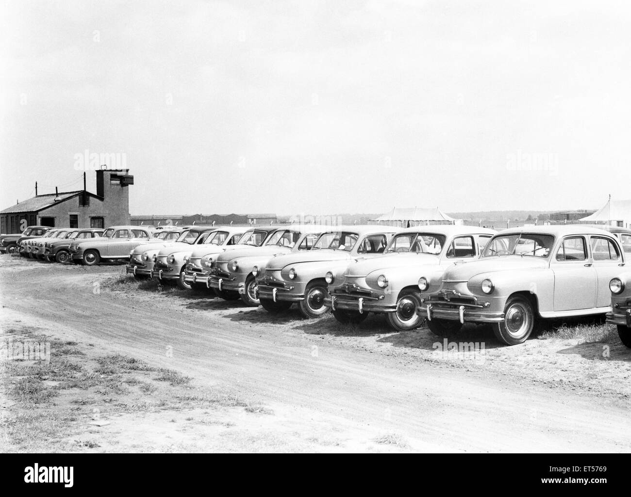 Standard Vanguard cars awaiting delivery seen here at Baginton Airport June 1954 - Stock Image