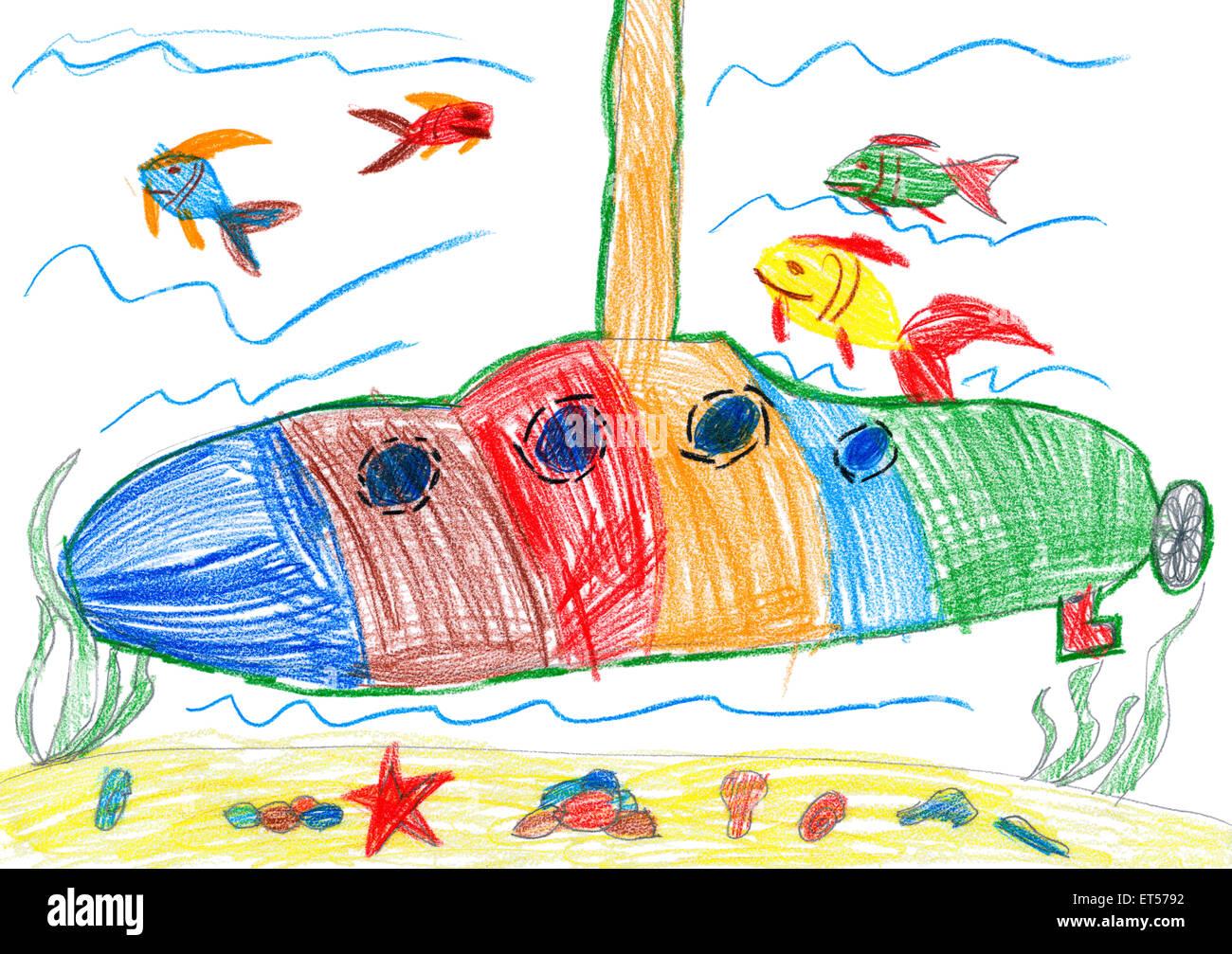 Yellow Submarine Underwater Child Drawing Stock Photos Yellow