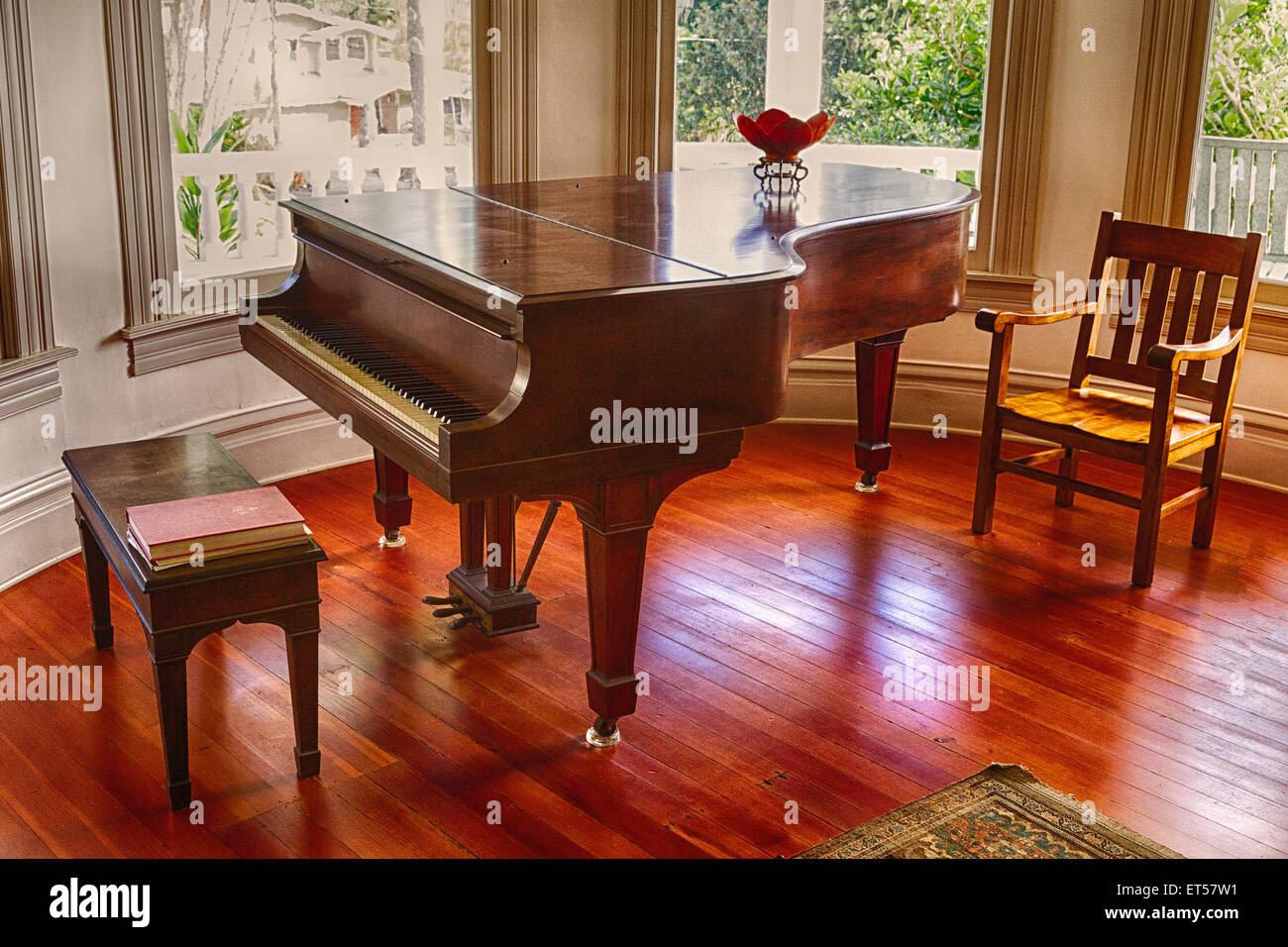 Grand piano in B&B in Hilo, Hawaii once played by Queen Liliuokalani. - Stock Image