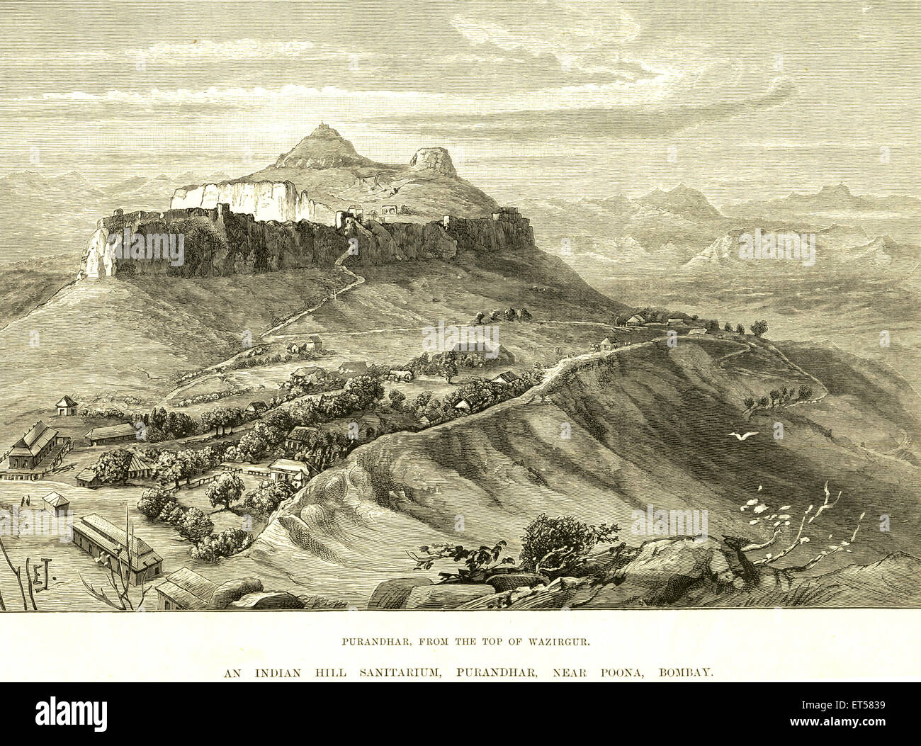 Holidays and Hill stations Purandhar from the top of Wazirgur ; an Indian hill Sanitarium ; Purandhar ; Poona Puna - Stock Image