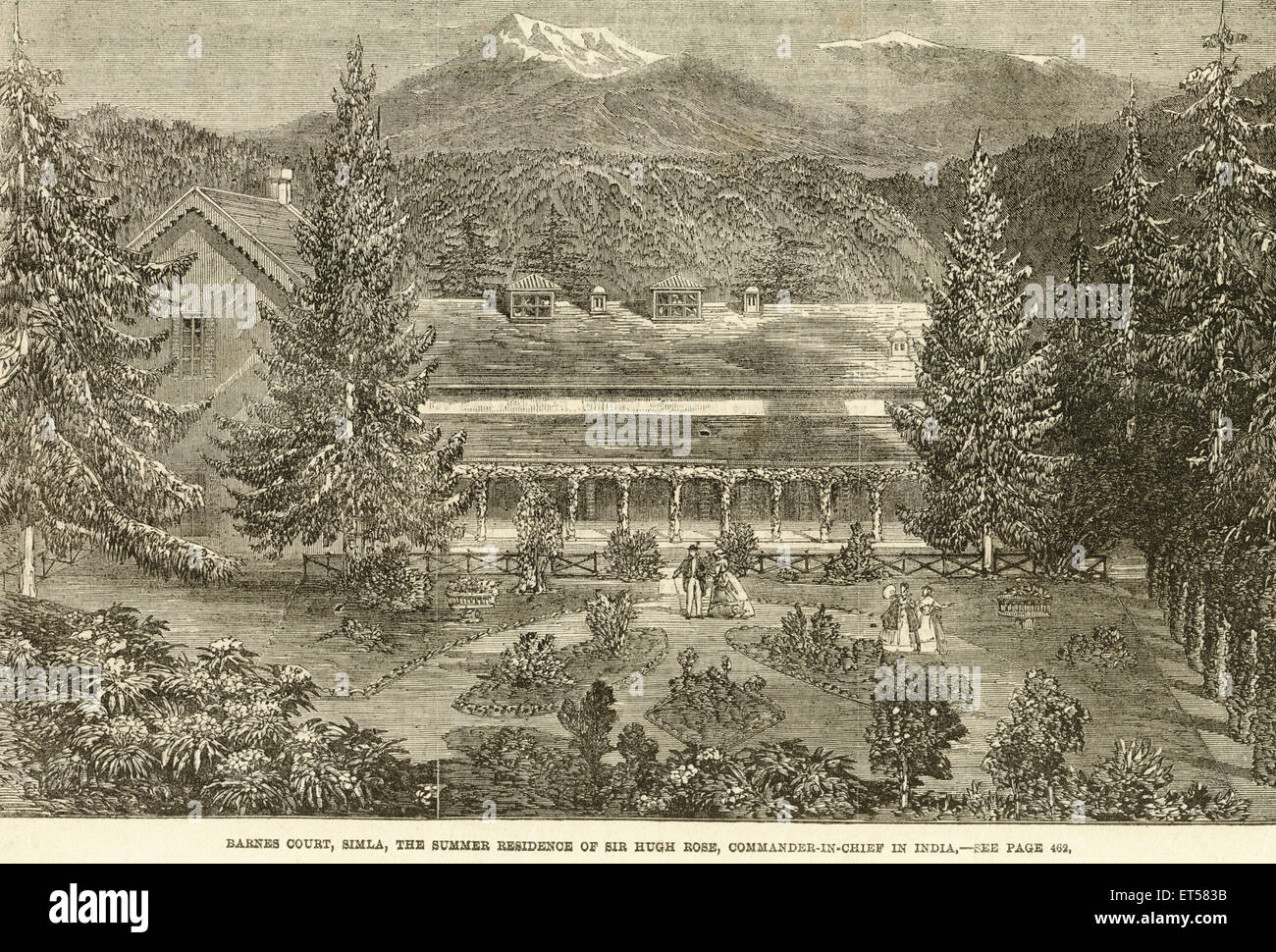 Barnes Court ; the summer residence of  Sir Hugh Rose ; Commander in chief of India ; Simla ; Shimla ; Himachal - Stock Image