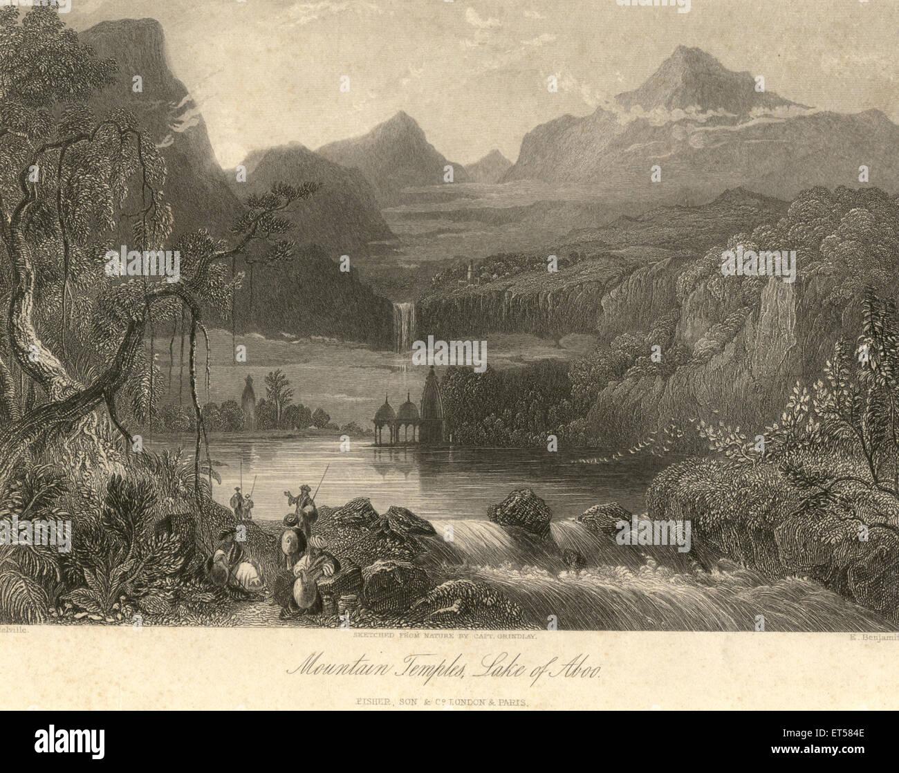 Mountain temples ; lake of Aboo ; Abu ; fisher & son C. London & Paris ; Rajasthan ; India - Stock Image