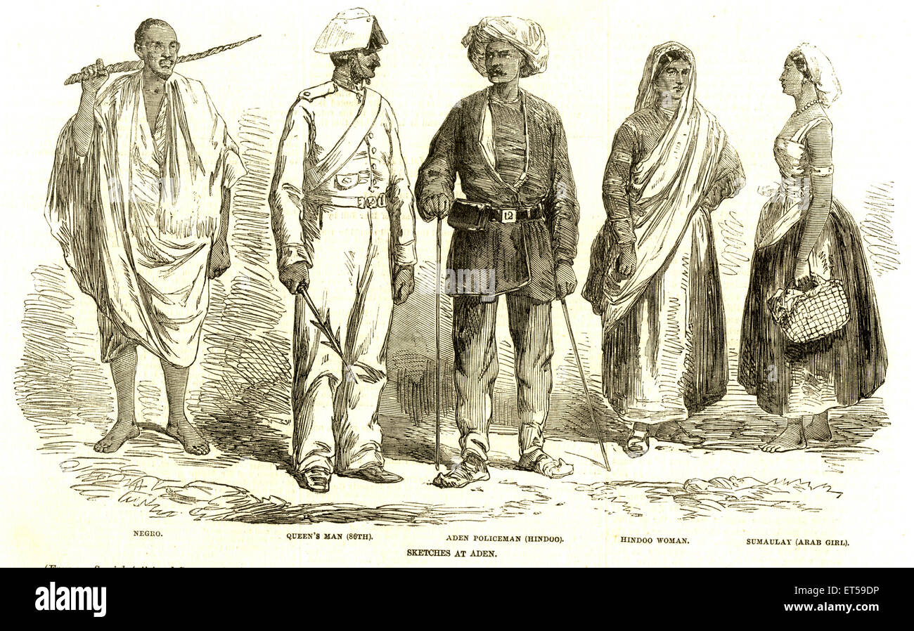 Lithographic portraits ; different people right negro ; queen's man ; Hindu aden policeman ; hindu woman ; sumaulay - Stock Image