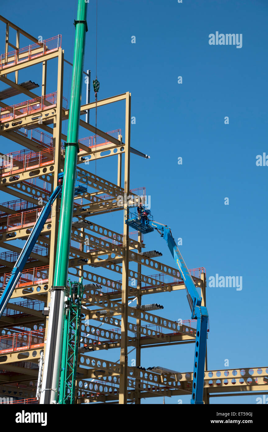 Steelwork being erected for a new office building, New Bailey, Salford, Manchester, England, UK - Stock Image
