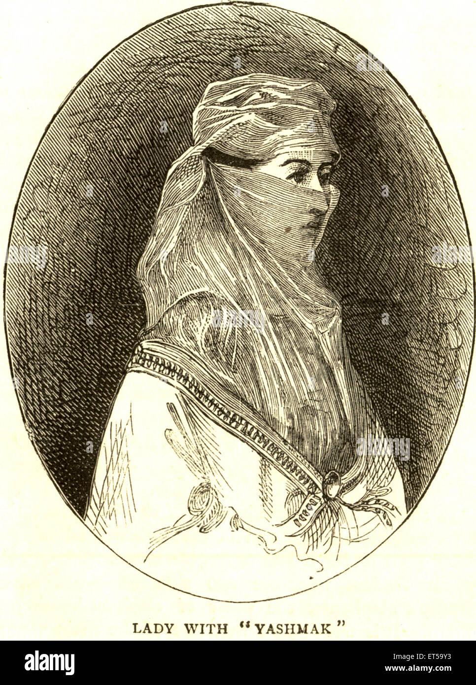 Lithographic portraits ; lady with yashmak ; India - Stock Image