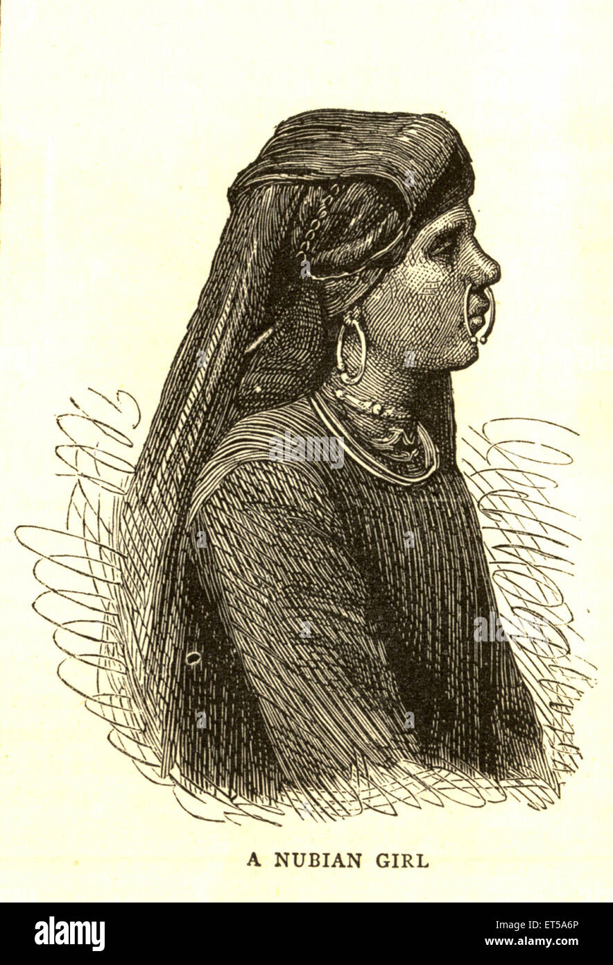 Lithographic portraits A Nubian Girl - Stock Image