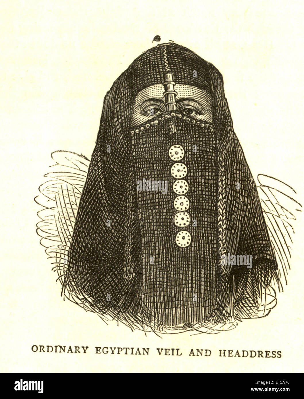 Lithographic portraits ordinary Egyptian veil and headdress - Stock Image