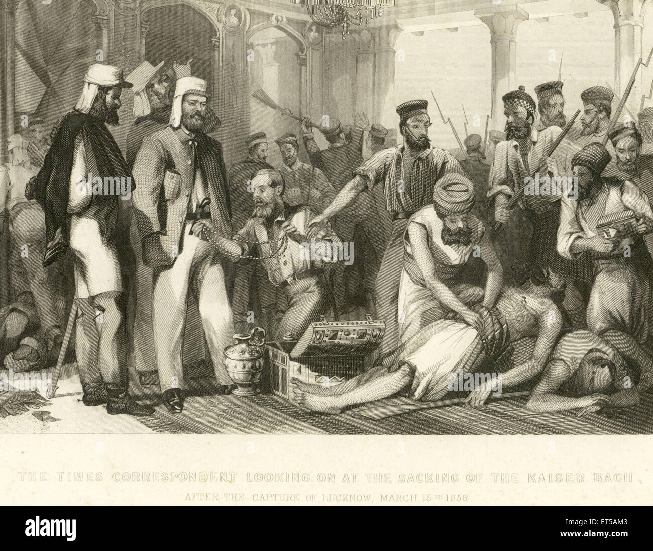 Lithographs The Times Correspondent Looking sacking of the Kaiser Bach capture of Lucknow 15th March 1858 ; Uttar - Stock Image