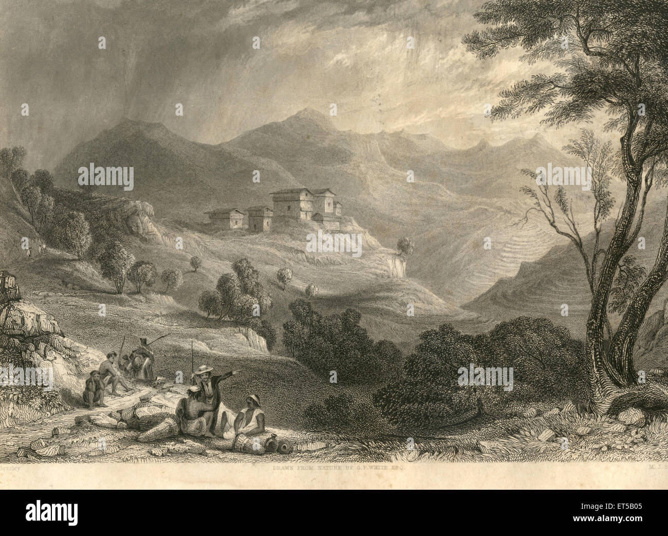 Lithographs Village of Naree ; India - Stock Image