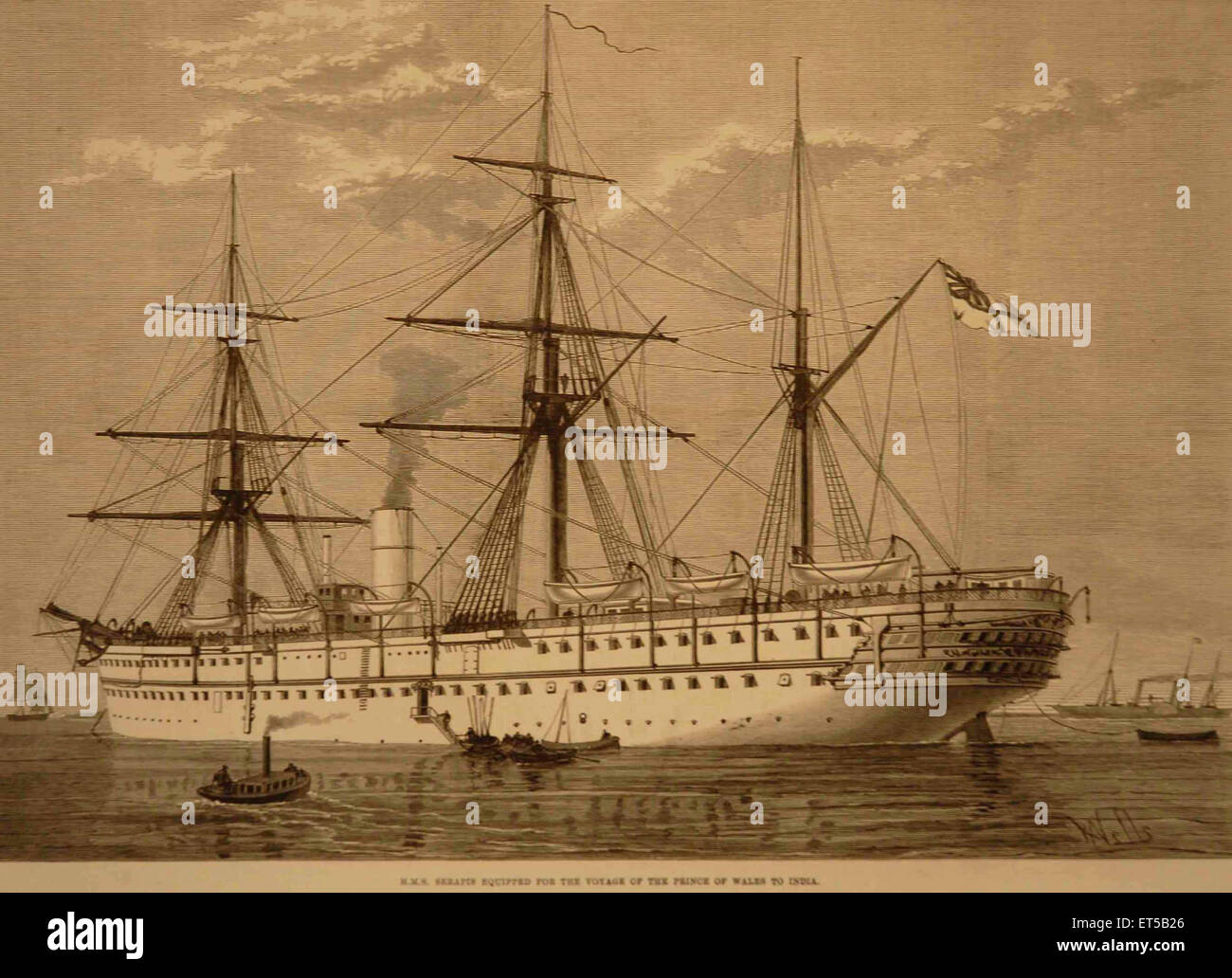 Lithographs H.M.S. Serapis Equipted for the Voyage of the Prince of Wales to India - Stock Image