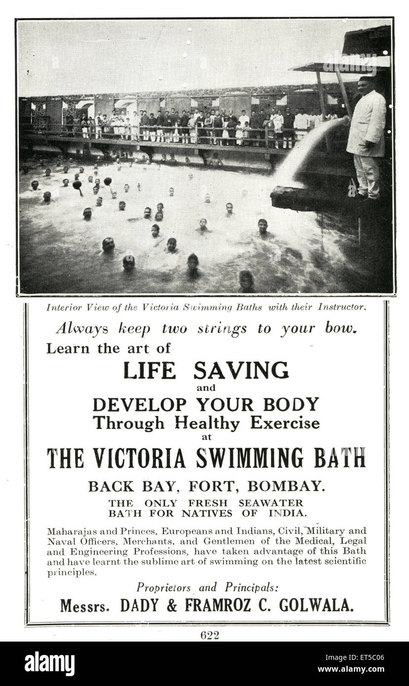 Old Advertisements Victoria Swimming Bath - Stock Image
