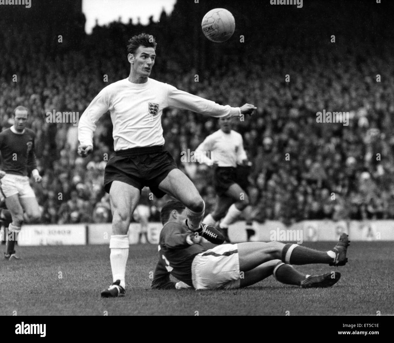 Alan Peacock, England's centre forward, in action. Wales v England. 2nd October 1965. - Stock Image