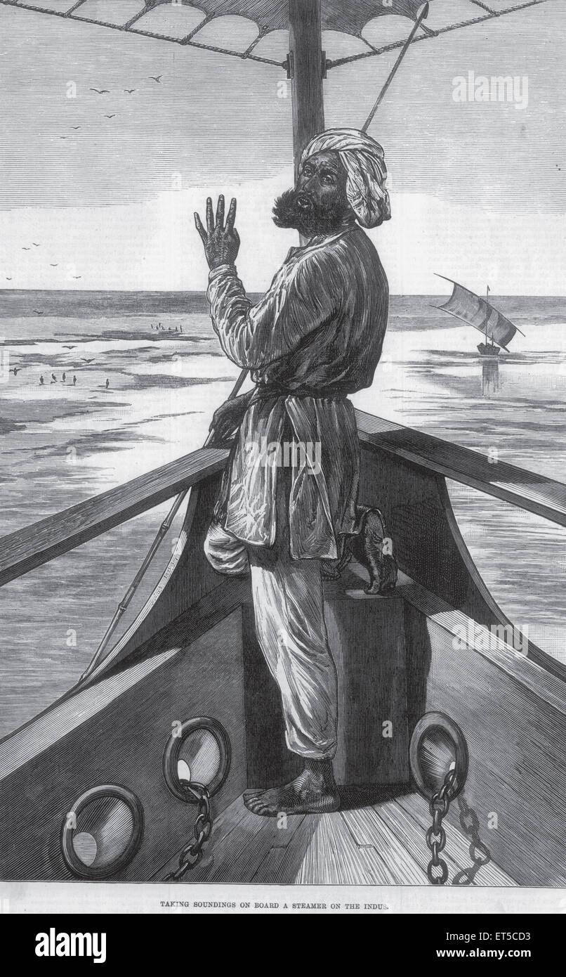 General Views taking soundings on board steamer on Indus - Stock Image