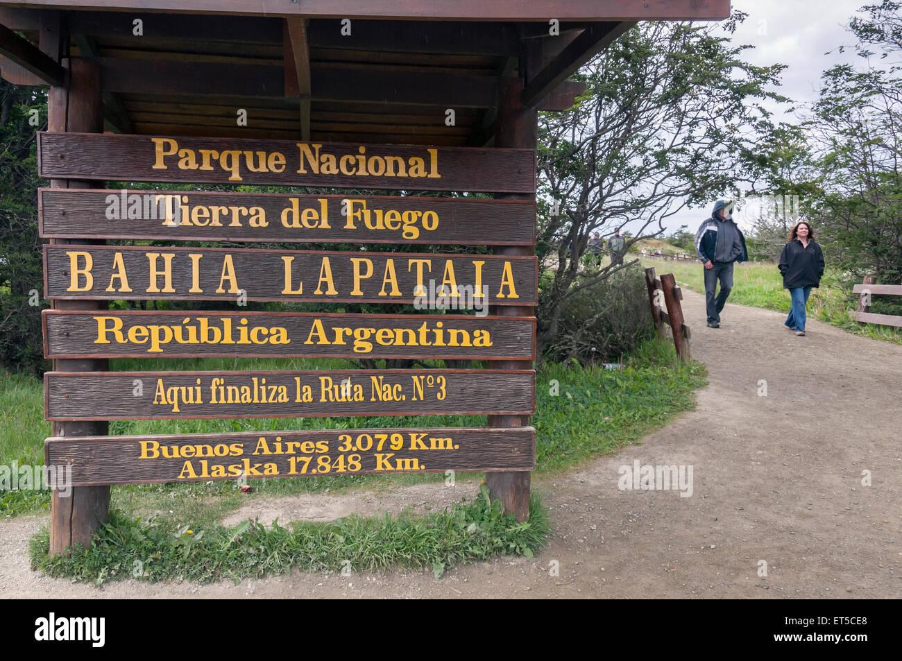 End of the road, Parque Nacional Tierra del Fuego, Argentina - Stock Image