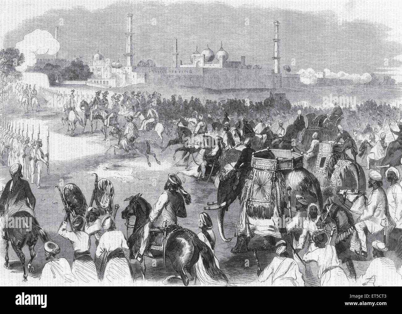 General View procession Sikh Chiefs others Lahore 11February occasion Durbar Levee held Governor General Commander - Stock Image