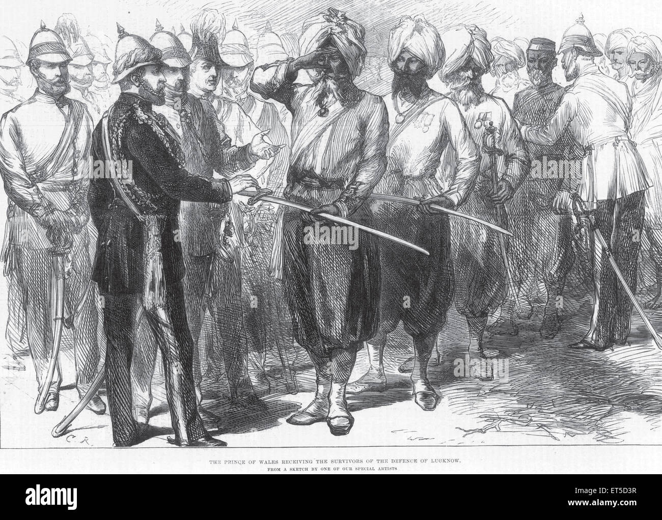 Royalty on Tour The Prince of Wales receiving the survivors of the defense of Lucknow ; Uttar Pradesh ; India - Stock Image