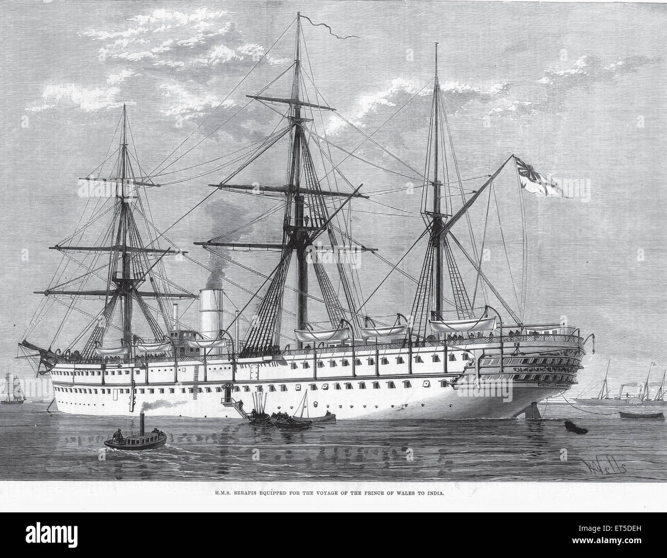 Royalty on Tour H.M.S Serapis Equipped for Voyage of Prince of Wales to India - Stock Image