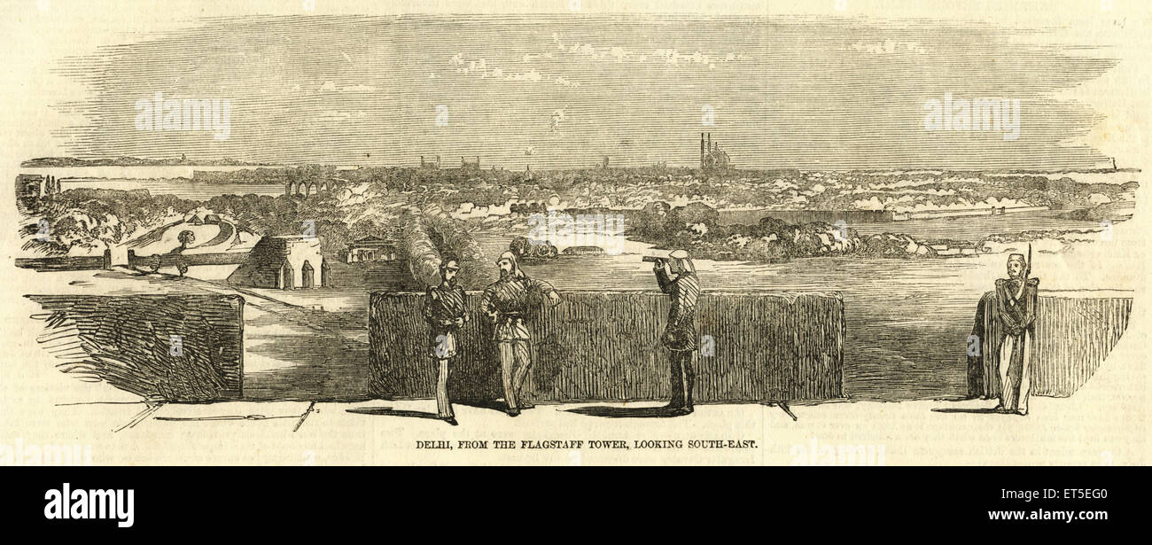 Military and munity mutiny views Delhi from flagstaff tower looking South East ; India Stock Photo