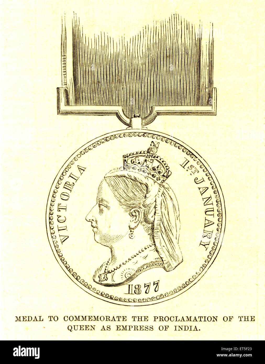 Military and munity mutiny views medal to commemorate proclamation of the queen as empress of India - Stock Image