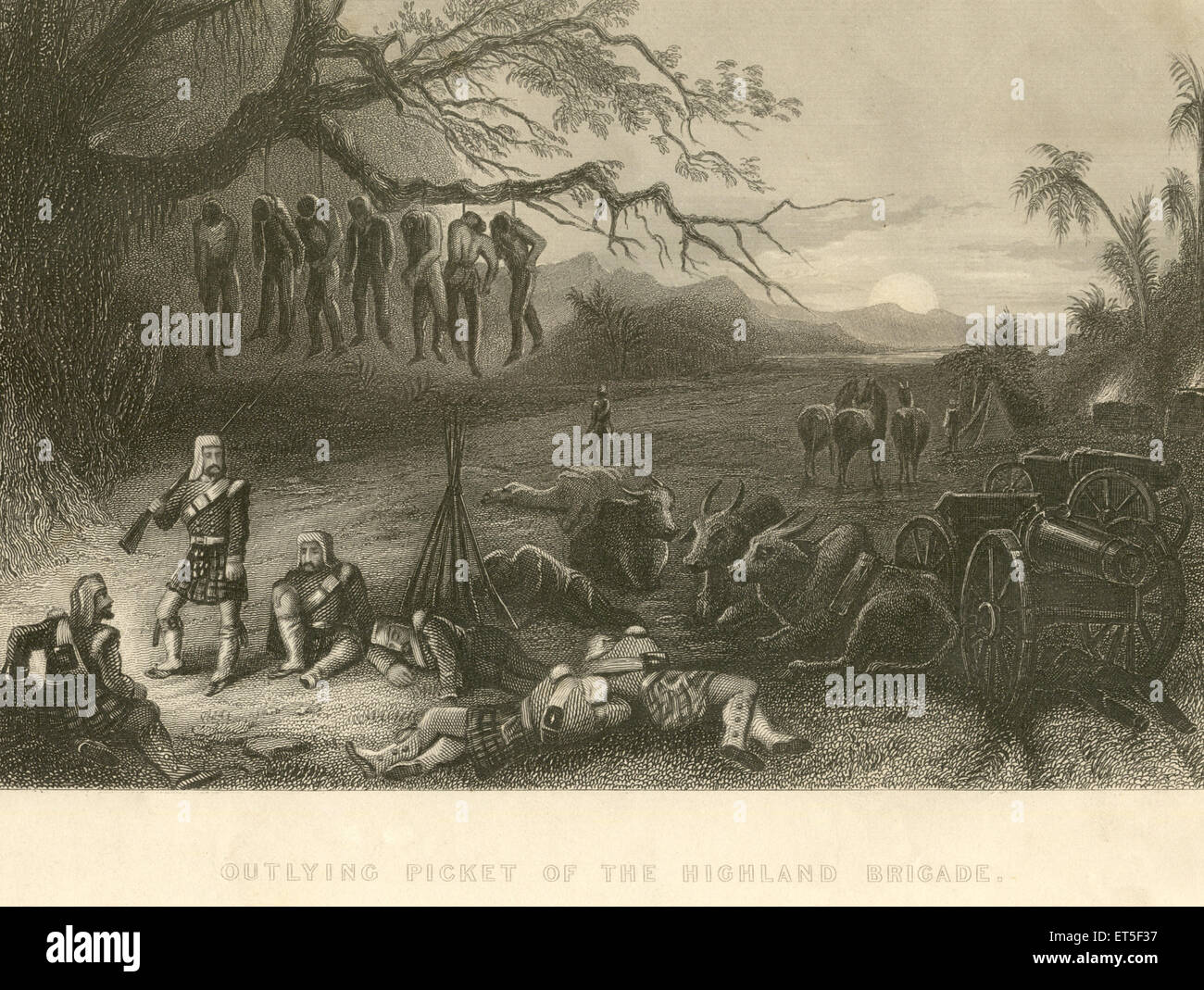 Military and munity mutiny views outlying picket of the highland brigade ; India - Stock Image
