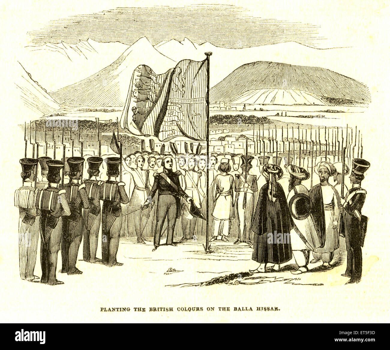 Military and munity mutiny Views Planting the British colors on Balla Hissar ; India - Stock Image