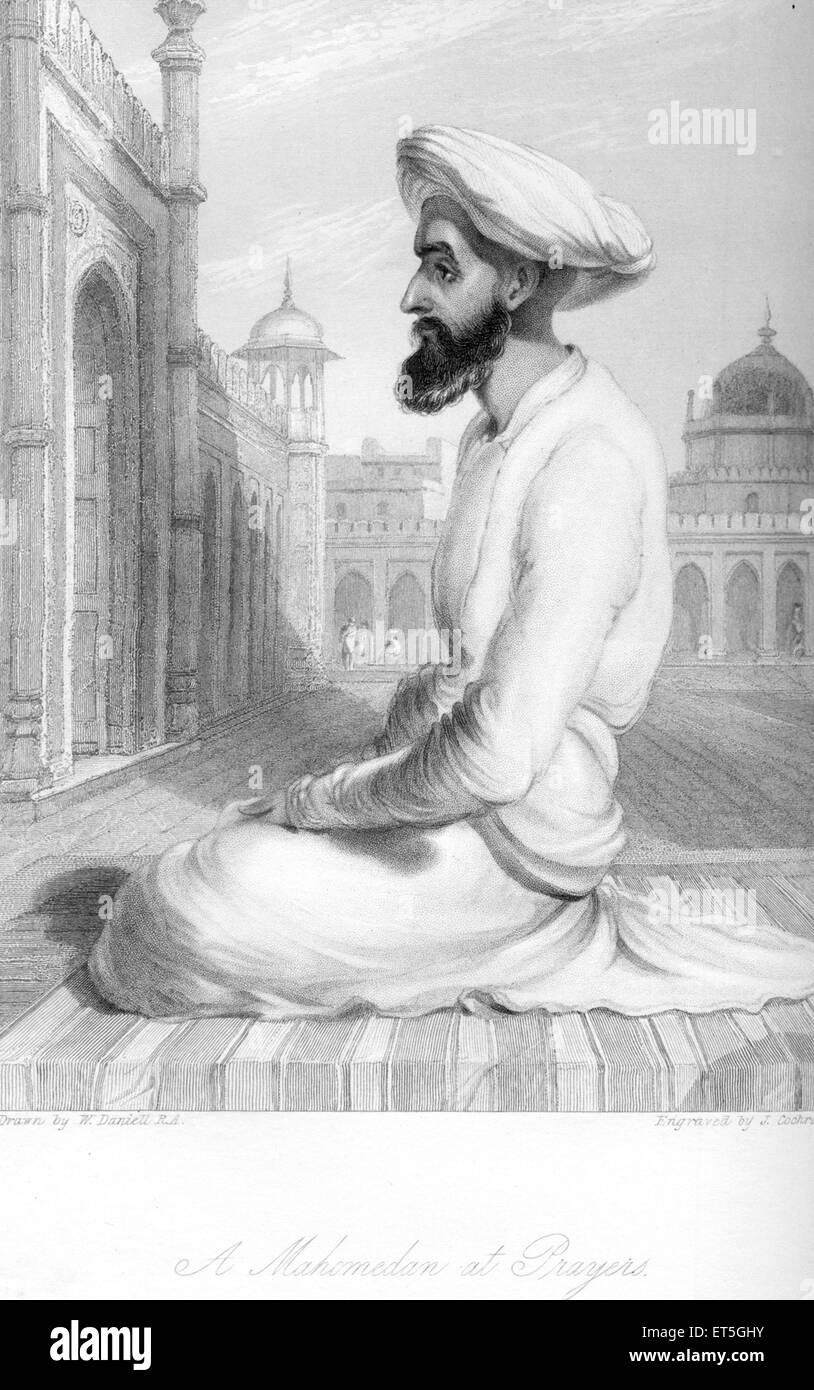 Mahomedan at prayers ; India - Stock Image