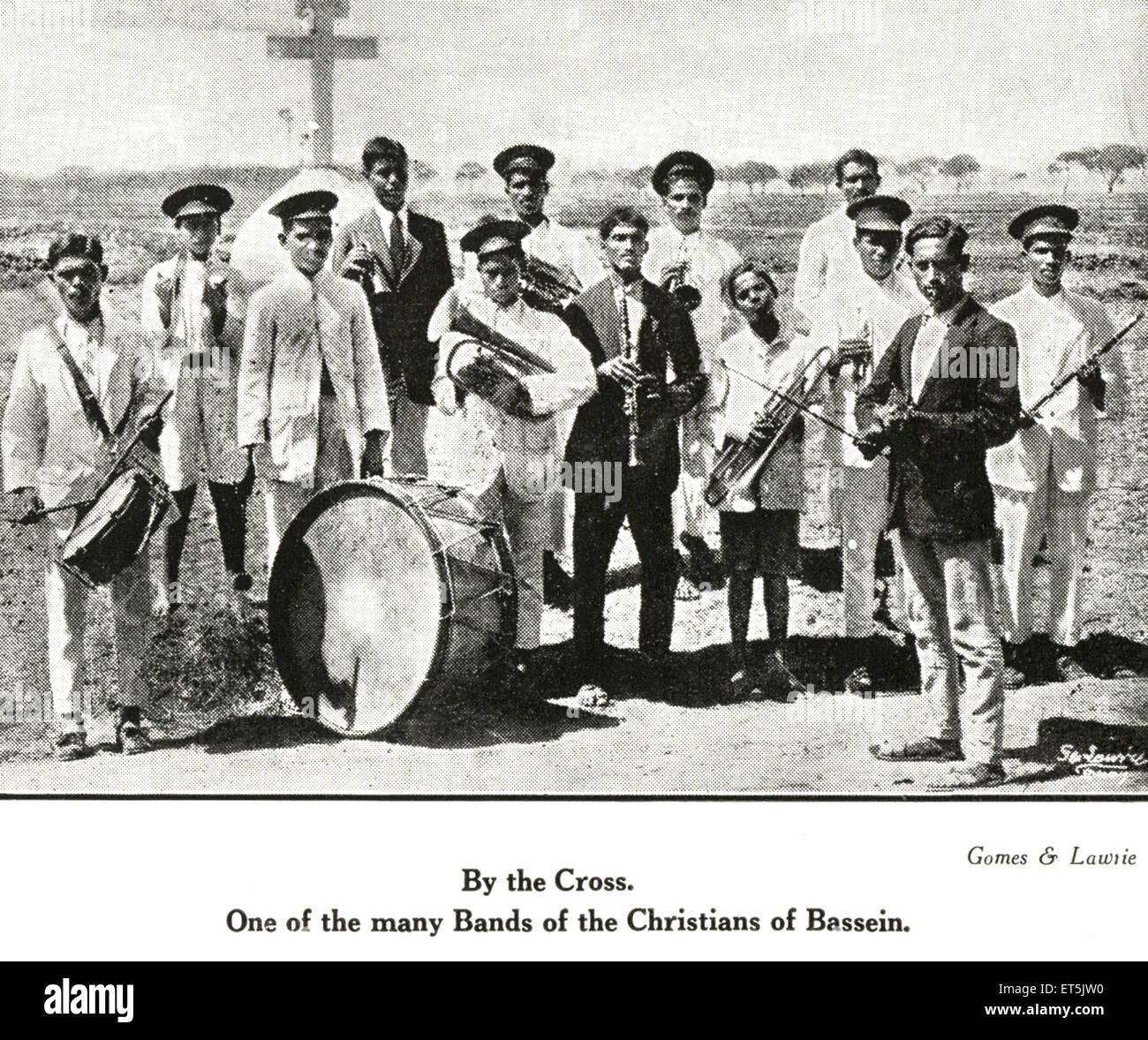 Catholic Community By the Cross One of the many Bands of Christians of Bassein ; Vasai ; Maharashtra ; India NO - Stock Image