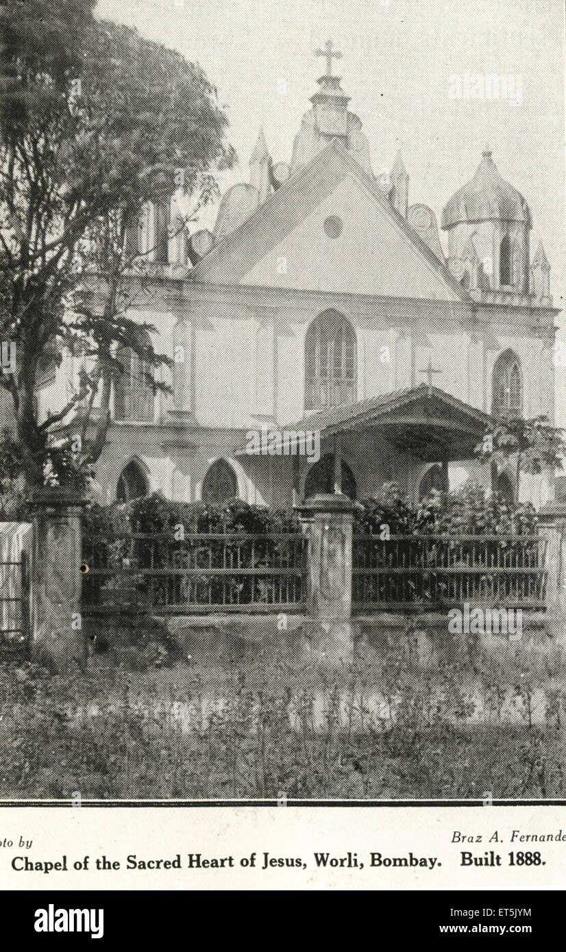 Catholic Community Chapel of Sacred Heart of Jesus built in 1888 ; Worli ; Bombay Mumbai ; Maharashtra ; India - Stock Image