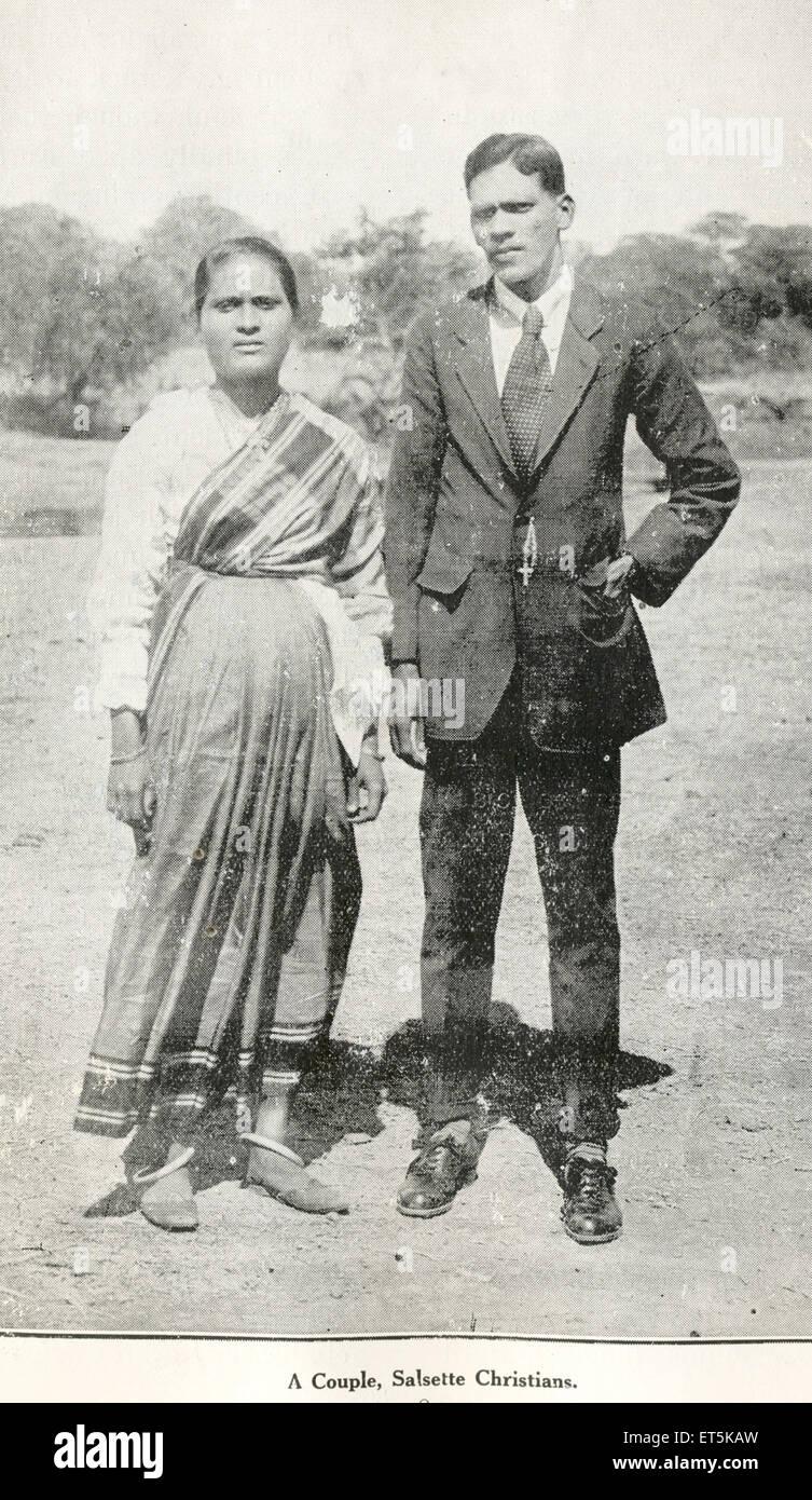 Catholic Community Couple ; Salsette Christians ; India NO MR - Stock Image