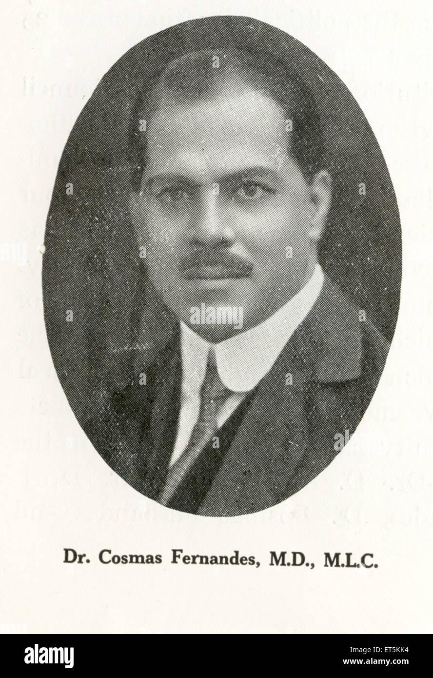 Catholic Community Dr. Cosmos Fernandes ; M.D ; M.L.C ; India NO MR - Stock Image