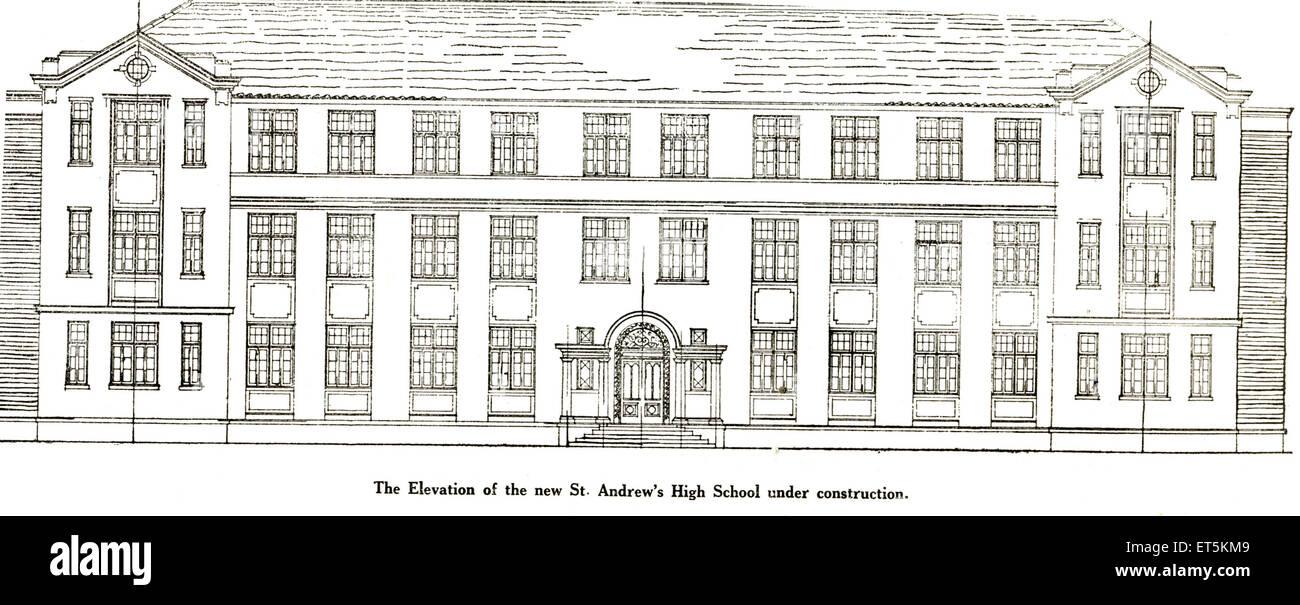 Catholic Community Elevation of new St Andrew's High School under construction ; India - Stock Image