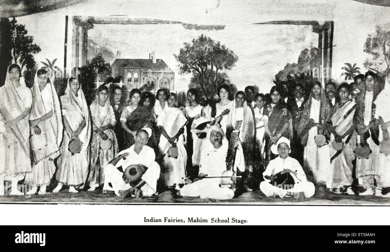 Catholic community Indian Fairies Mahim School Stage ; Bombay Mumbai ; Maharashtra ; India NO MR - Stock Image