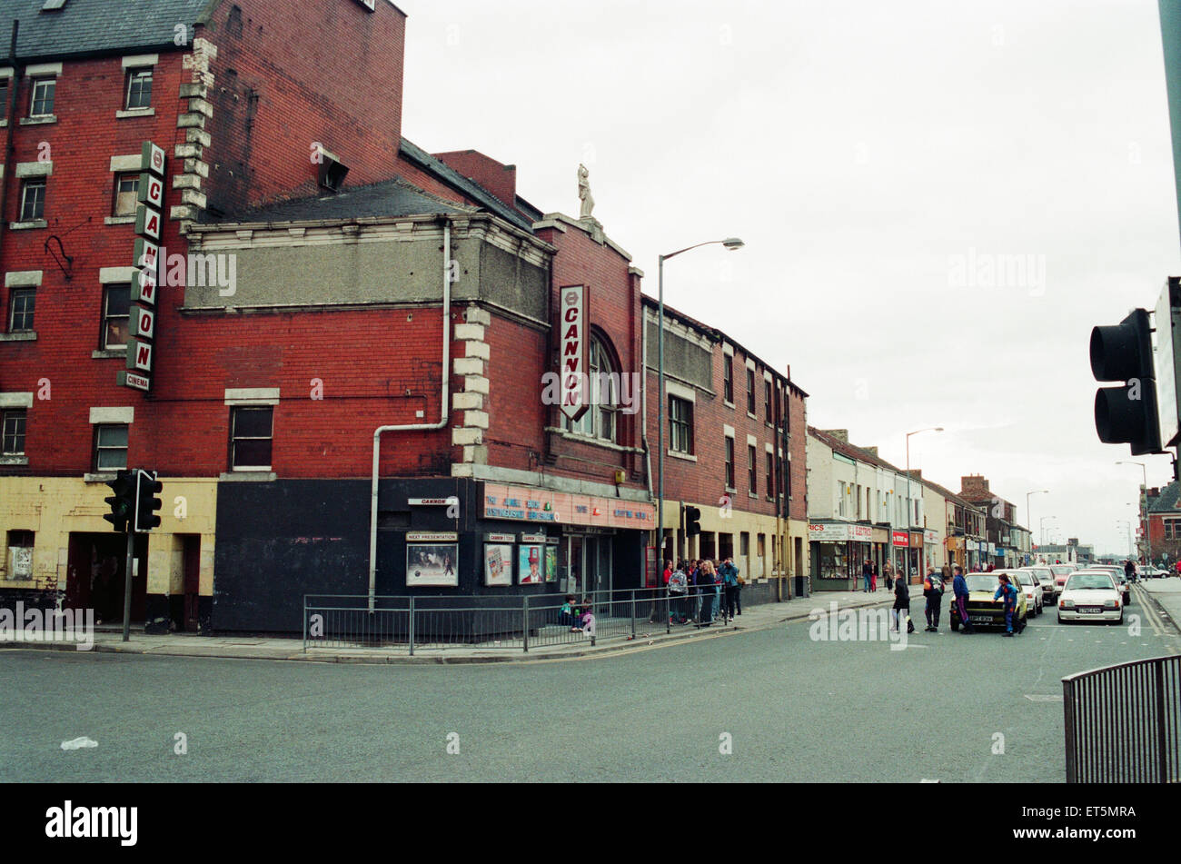 Cannon Cinema and Shops, along Prince Regent Street, Stockton, due to be demolished, Pictured 6th April 1993. - Stock Image