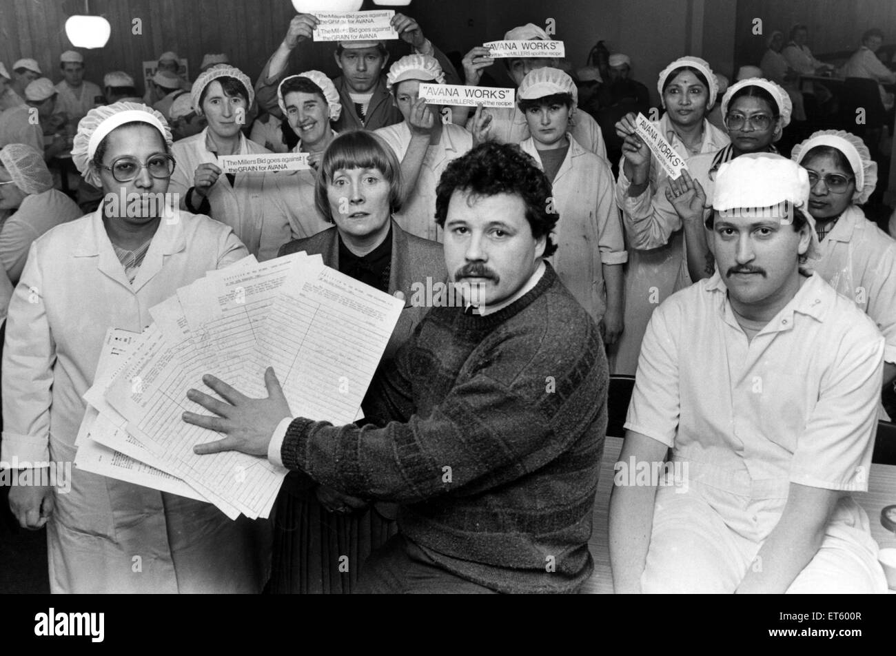 A petition signed by staff of Avana Bakery, Cardiff, is going to be presented to their local MP Mr James Callaghan, - Stock Image
