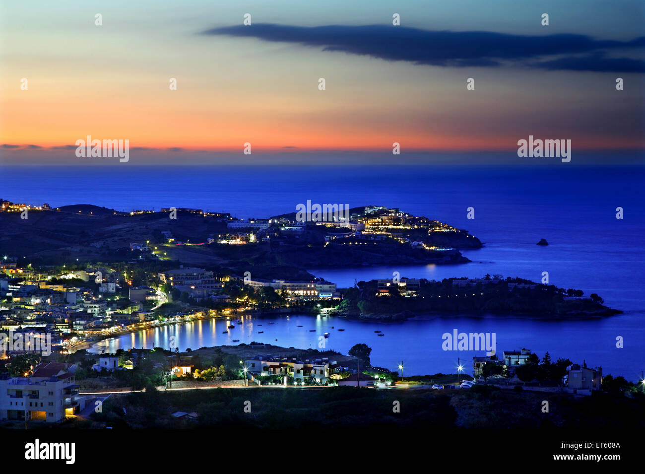 Panoramic night view of Agia Pelagia, Heraklion, Crete, Greece. - Stock Image