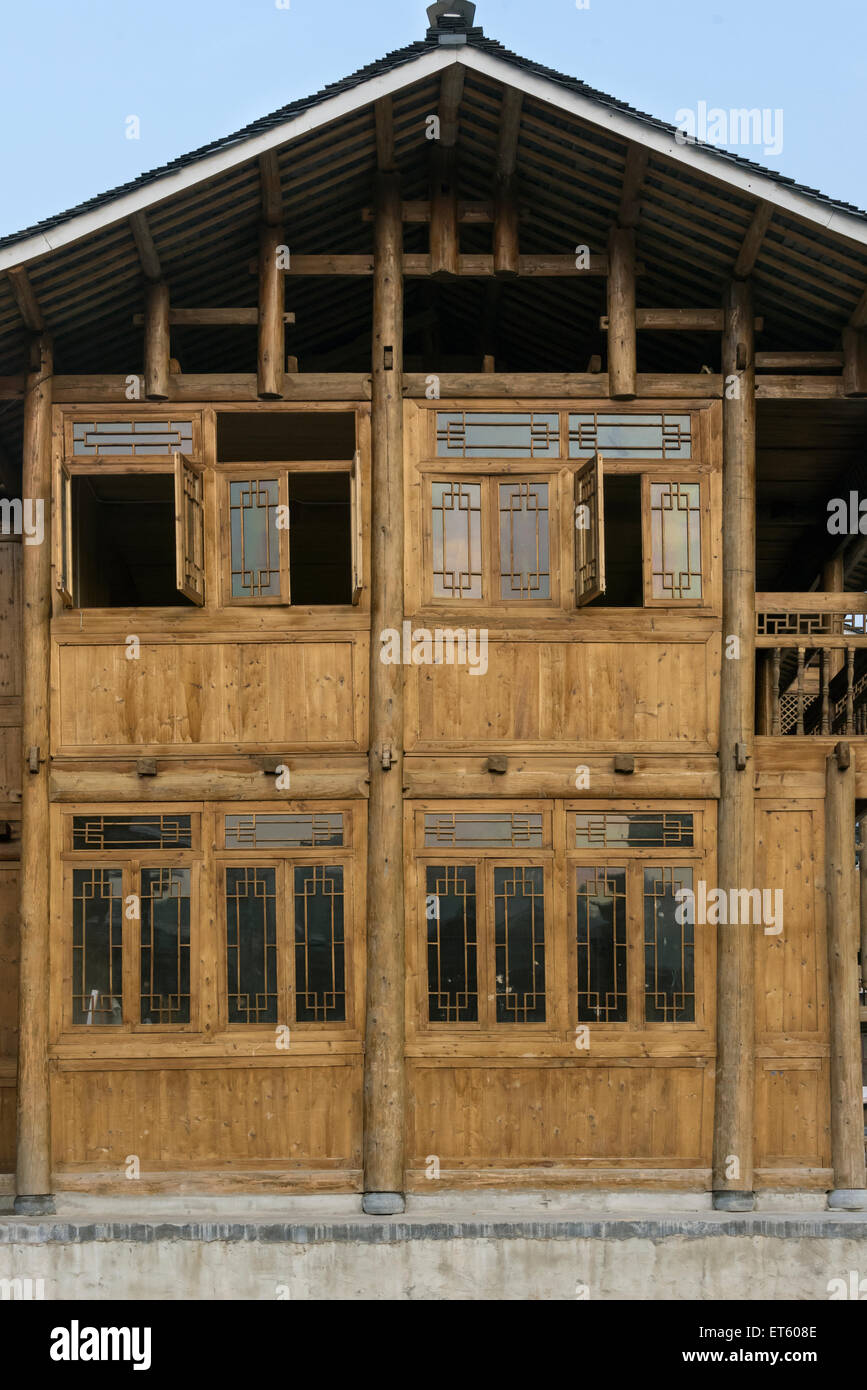 Dong mortise and tenon wooden hour construction, Zhaoxing Dong Village, Guizhou Province, China Stock Photo