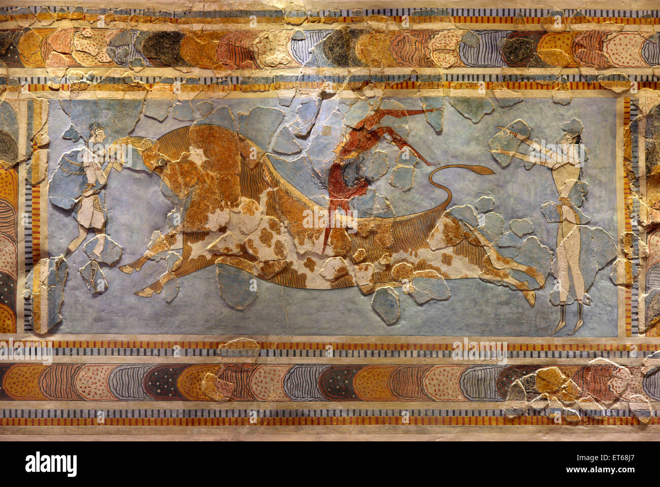 The Bull-leaping fresco from the Minoan Palace of Knossos, in the Archaeological Museum of Heraklion, Crete, Greece - Stock Image