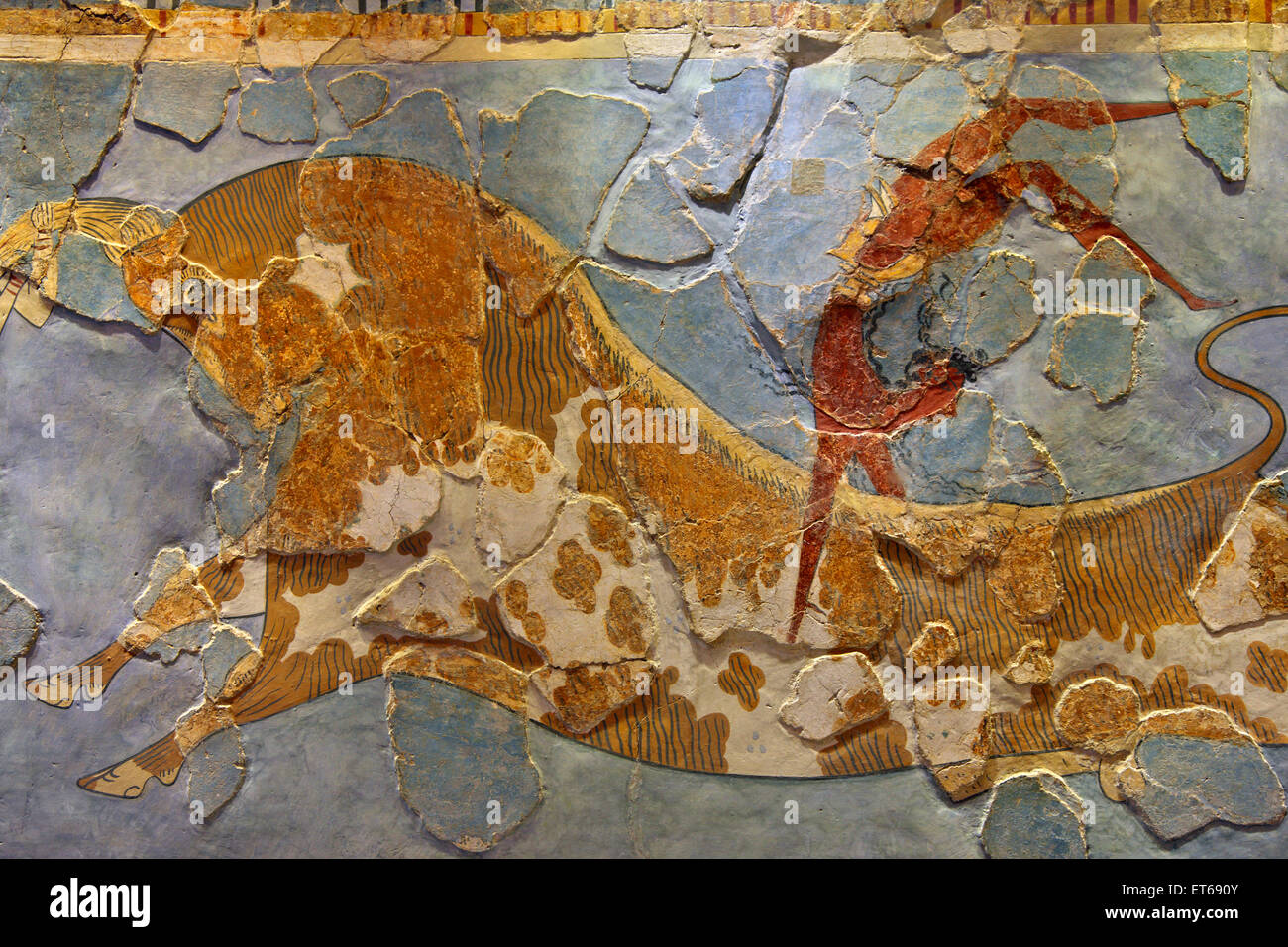 The Bull-leaping fresco (detail)  from the Minoan Palace of Knossos, in the Archaeological Museum of Heraklion, - Stock Image