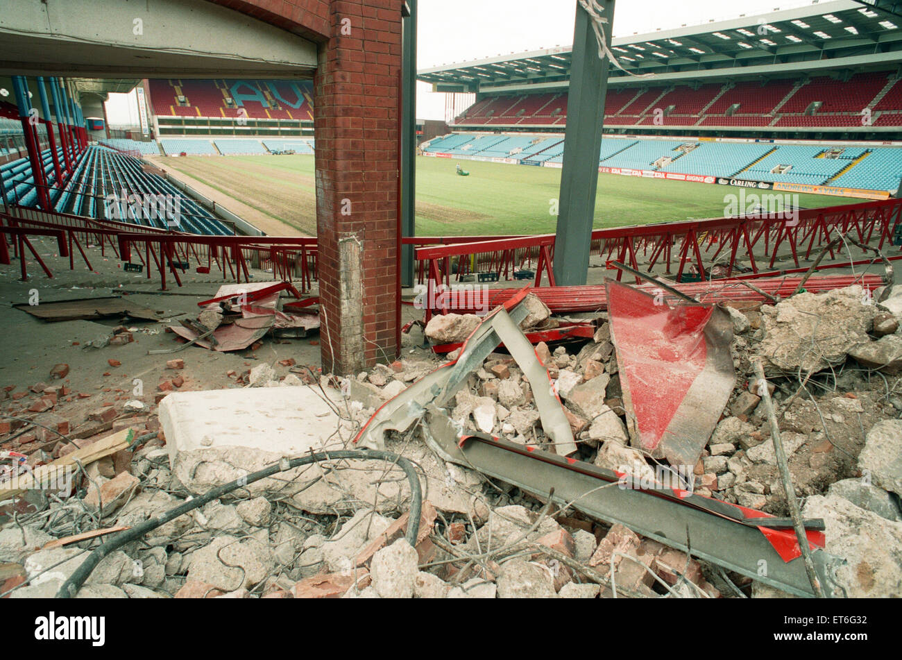 The Holte End stand at Villa Park is demolished by workmen. 10th May 1994. Stock Photo