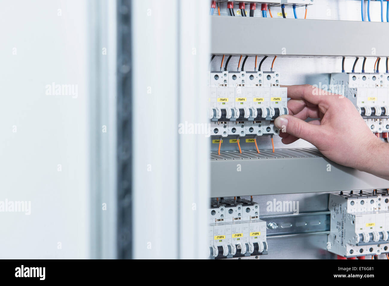 Switching Stock Photos Images Alamy Circuit Breakers Service Billie The Girl Close Up Of Electrician Electrical Fuse In Distribution Fusebox Munich Bavaria
