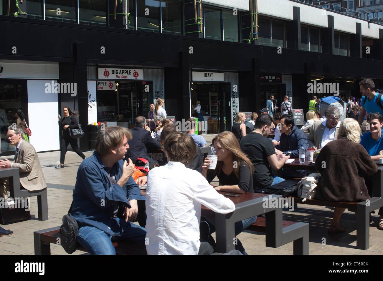 Euston Station Piazza, Central London, England, UK - Stock Image