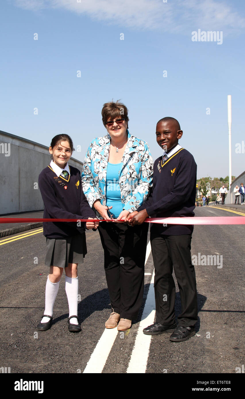 Opening of new £10 million Tennison Road Bridge in South Norwood, Croydon by Graham Construction, spanning - Stock Image