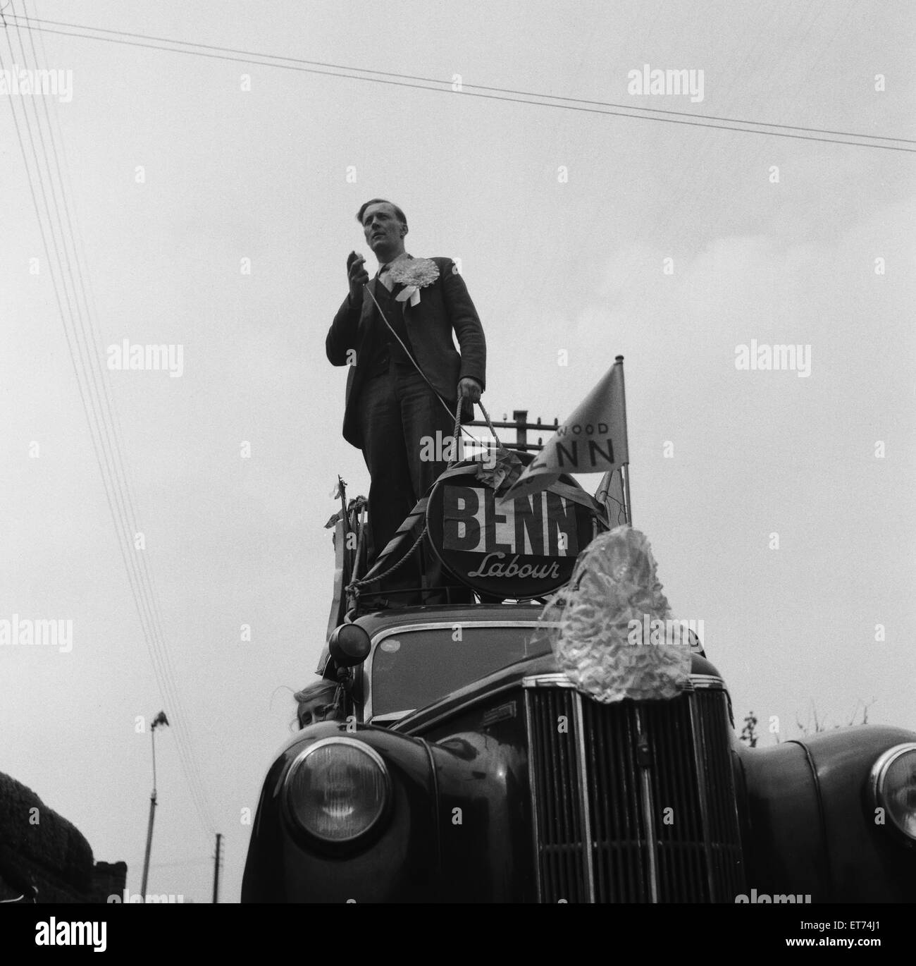 Tony Benn, Member of Parliament for Bristol South East, General Election Campaign 1955, pictured campaining in his - Stock Image