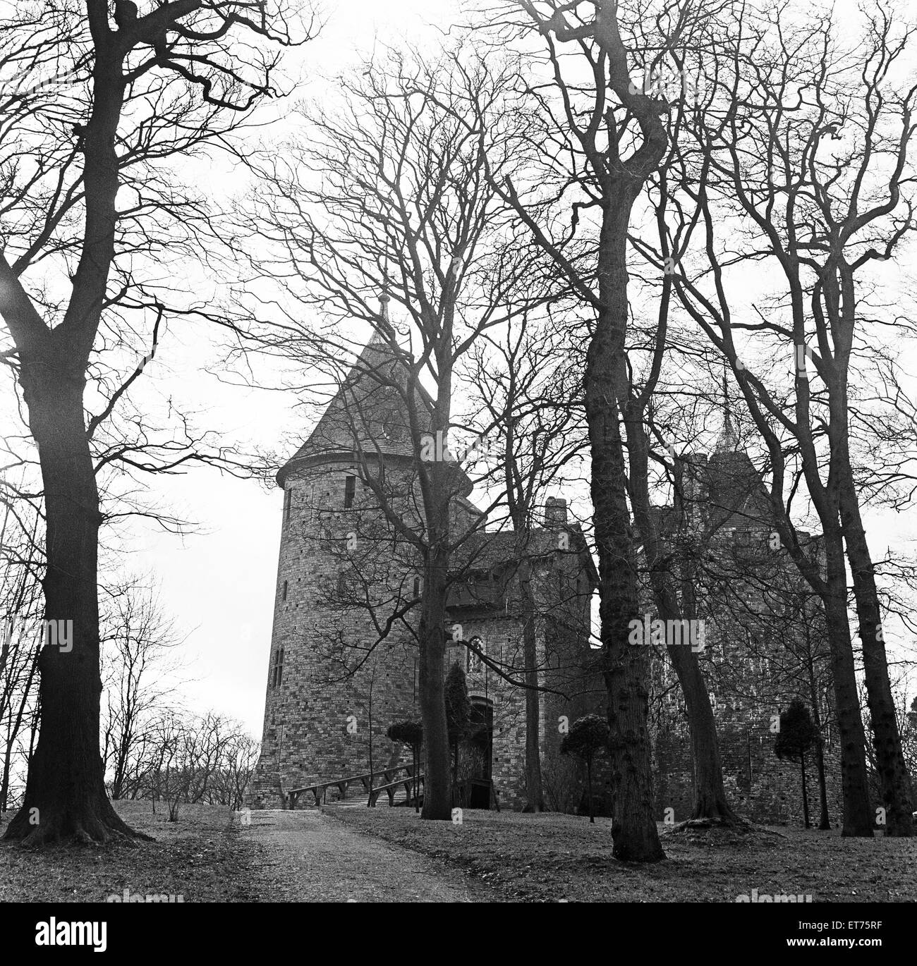 Castell Coch is a 19th-century Gothic Revival castle. It is situated on a steep hillside high above the village - Stock Image