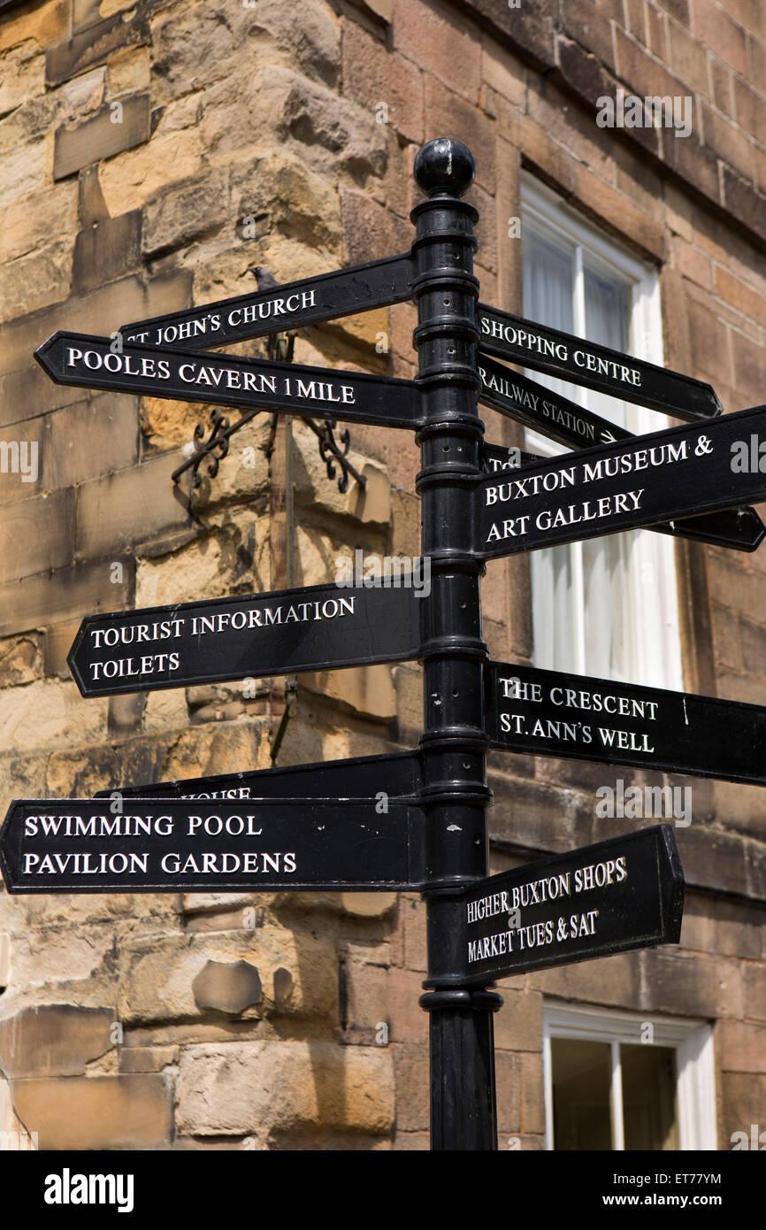 UK, England, Derbyshire, Buxton, The Square, tourist information signpost - Stock Image