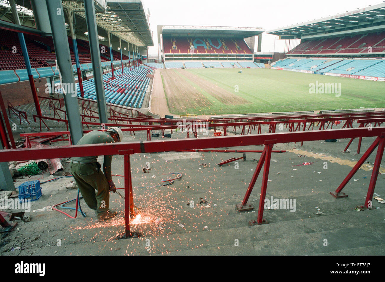 The Holte End stand at Villa Park is demolished by workmen. 10th May 1994. - Stock Image