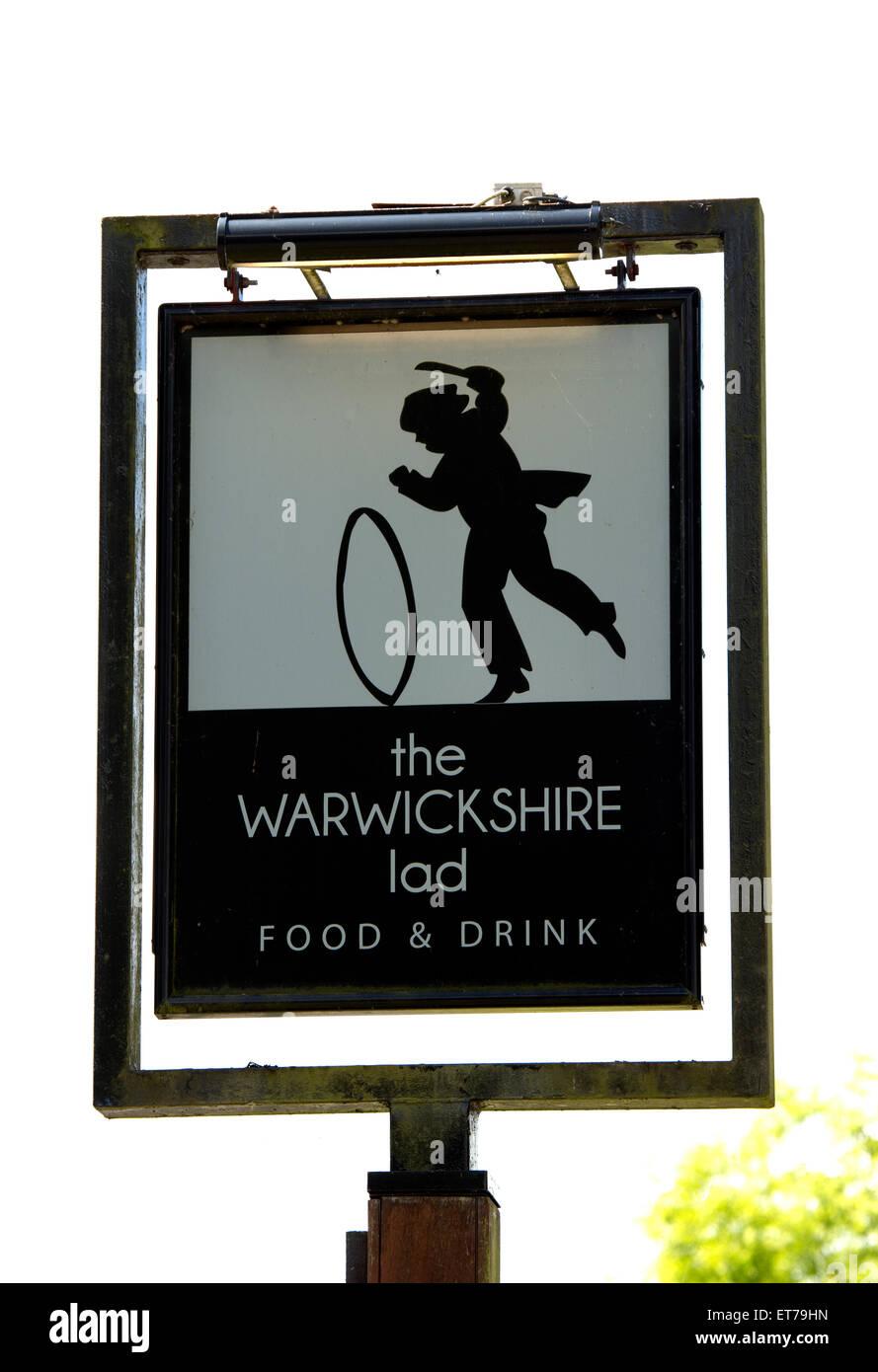 The Warwickshire Lad pub sign, Wood End, Warwickshire, England, UK - Stock Image