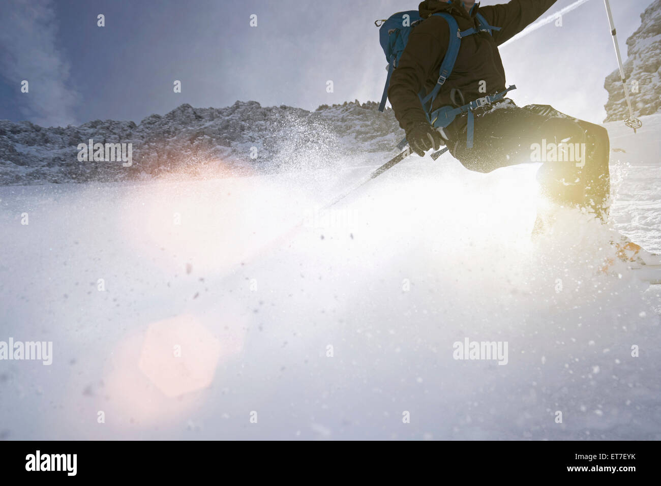Low section view of man skiing, Bavaria, Germany - Stock Image